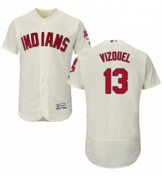 Mens Majestic Cleveland Indians 13 Omar Vizquel Cream Alternate Flex Base Authentic Collection MLB Jersey