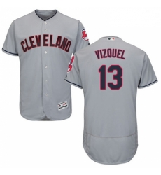 Mens Majestic Cleveland Indians 13 Omar Vizquel Grey Road Flex Base Authentic Collection MLB Jersey