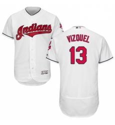 Mens Majestic Cleveland Indians 13 Omar Vizquel White Home Flex Base Authentic Collection MLB Jersey