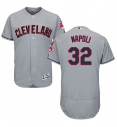 Mens Majestic Cleveland Indians 32 Mike Napoli Grey Road Flex Base Authentic Collection MLB Jersey