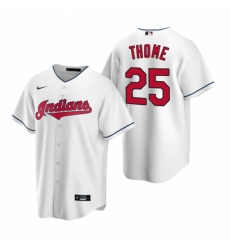 Mens Nike Cleveland Indians 25 Jim Thome White Home Stitched Baseball Jerse