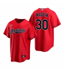 Mens Nike Cleveland Indians 30 Tyler Naquin Red Alternate Stitched Baseball Jerse