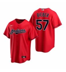 Mens Nike Cleveland Indians 57 Shane Bieber Red Alternate Stitched Baseball Jersey