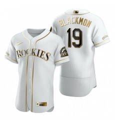 Colorado Rockies 19 Charlie Blackmon White Nike Mens Authentic Golden Edition MLB Jersey