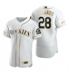 Colorado Rockies 28 Nolan Arenado White Nike Mens Authentic Golden Edition MLB Jersey