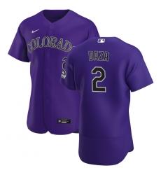 Men Colorado Rockies 2 Yonathan Daza Men Nike Purple Alternate 2020 Flex Base Player MLB Jersey