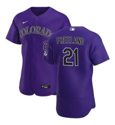 Men Colorado Rockies 21 Kyle Freeland Men Nike Purple Alternate 2020 Flex Base Player MLB Jersey