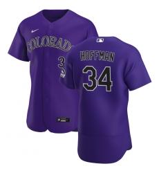 Men Colorado Rockies 34 Jeff Hoffman Men Nike Purple Alternate 2020 Flex Base Player MLB Jersey