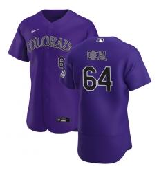 Men Colorado Rockies 64 Phillip Diehl Men Nike Purple Alternate 2020 Flex Base Player MLB Jersey