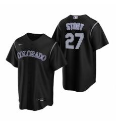 Mens Nike Colorado Rockies 27 Trevor Story Black Alternate Stitched Baseball Jerse