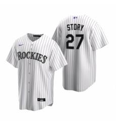 Mens Nike Colorado Rockies 27 Trevor Story White Home Stitched Baseball Jerse
