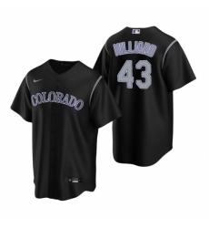 Mens Nike Colorado Rockies 43 Sam Hilliard Black Alternate Stitched Baseball Jersey