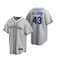 Mens Nike Colorado Rockies 43 Sam Hilliard Gray Road Stitched Baseball Jersey