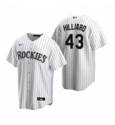 Mens Nike Colorado Rockies 43 Sam Hilliard White Home Stitched Baseball Jersey