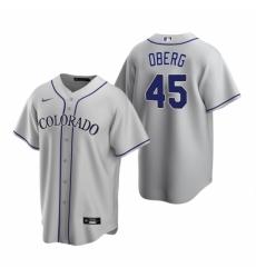 Mens Nike Colorado Rockies 45 Scott Oberg Gray Road Stitched Baseball Jersey