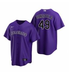 Mens Nike Colorado Rockies 49 Antonio Senzatela Purple Alternate Stitched Baseball Jersey