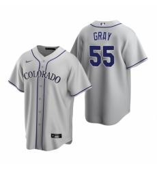 Mens Nike Colorado Rockies 55 Jon Gray Gray Road Stitched Baseball Jerse