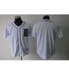 MLB Tigers Blank White Blank Cool Base Men Jersey II