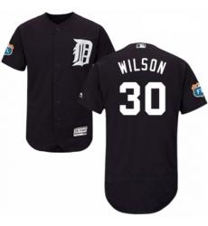Mens Majestic Detroit Tigers 30 Alex Wilson Navy Blue Alternate Flex Base Authentic Collection MLB Jersey