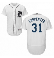 Mens Majestic Detroit Tigers 31 Ryan Carpenter White Home Flex Base Authentic Collection MLB Jersey
