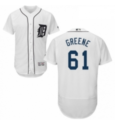 Mens Majestic Detroit Tigers 61 Shane Greene White Home Flex Base Authentic Collection MLB Jersey