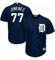 Mens Majestic Detroit Tigers 77 Joe Jimenez Replica Navy Blue Alternate Cool Base MLB Jersey