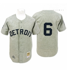 Mens Mitchell and Ness 1968 Detroit Tigers 6 Al Kaline Authentic Grey Throwback MLB Jersey