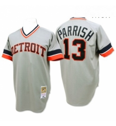 Mens Mitchell and Ness Detroit Tigers 13 Lance Parrish Replica Grey Throwback MLB Jersey