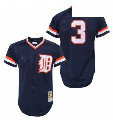 Mens Mitchell and Ness Detroit Tigers 3 Alan Trammell Authentic Blue Throwback MLB Jersey