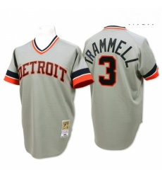 Mens Mitchell and Ness Detroit Tigers 3 Alan Trammell Replica Grey Throwback MLB Jersey