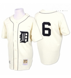 Mens Mitchell and Ness Detroit Tigers 6 Al Kaline Replica White Throwback MLB Jersey