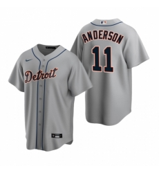 Mens Nike Detroit Tigers 11 Sparky Anderson Gray Road Stitched Baseball Jersey