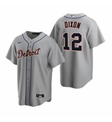 Mens Nike Detroit Tigers 12 Brandon Dixon Gray Road Stitched Baseball Jersey