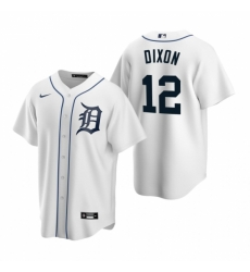 Mens Nike Detroit Tigers 12 Brandon Dixon White Home Stitched Baseball Jersey