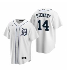 Mens Nike Detroit Tigers 14 Christin Stewart White Home Stitched Baseball Jersey