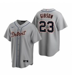 Mens Nike Detroit Tigers 23 Kirk Gibson Gray Road Stitched Baseball Jerse