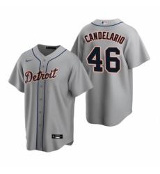Mens Nike Detroit Tigers 46 Jeimer Candelario Gray Road Stitched Baseball Jersey