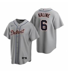 Mens Nike Detroit Tigers 6 Al Kaline Gray Road Stitched Baseball Jerse