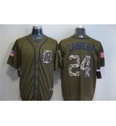Tigers 24 Miguel Cabrera Olive 2020 Nike Cool Base Jersey