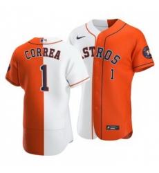 Men Houston Astros 1 Carlos Correa Split White Orange Two Tone Jersey