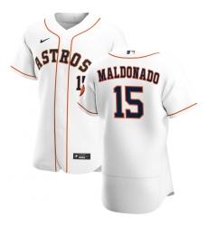 Men Houston Astros 15 Martin Maldonado Men Nike White Home 2020 Flex Base Player MLB Jersey