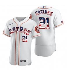 Men Houston Astros 21 Zack Greinke Men Nike White Fluttering USA Flag Limited Edition Flex Base MLB Jersey