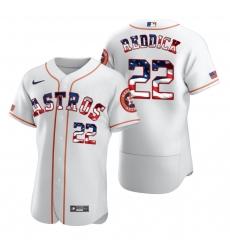 Men Houston Astros 22 Josh Reddick Men Nike White Fluttering USA Flag Limited Edition Flex Base MLB Jersey