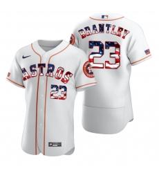 Men Houston Astros 23 Michael Brantley Men Nike White Fluttering USA Flag Limited Edition Flex Base MLB Jersey