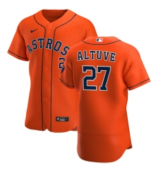 Men Houston Astros 27 Jose Altuve Men Nike Orange Alternate 2020 Flex Base Team MLB Jersey