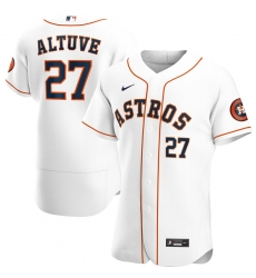 Men Houston Astros 27 Jose Altuve Men Nike White Home 2020 Flex Base Player MLB Jersey