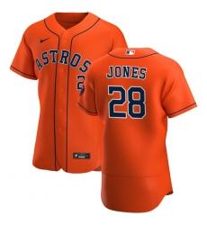 Men Houston Astros 28 Taylor Jones Men Nike Orange Alternate 2020 Flex Base Team MLB Jersey