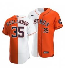 Men Houston Astros 35 Justin Verlander Split White Orange Two Tone Jersey