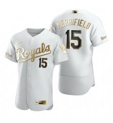 Kansas City Royals 15 Whit Merrifield White Nike Mens Authentic Golden Edition MLB Jersey