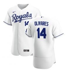 Men Kansas City Royals 14 Edward Olivares Men Nike White Home 2020 Flex Base Player MLB Jersey